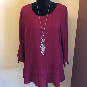 Lg deep cranberry colored blouse by AGB